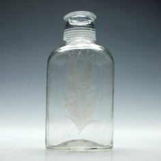Engraved Early Screw Top Spirit Decanter c1750
