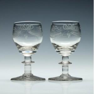 Pair of Engraved Port Wine Glasses c1830