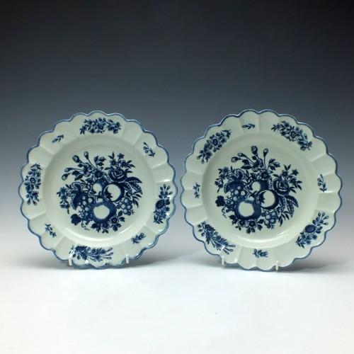 Pair of John Penningtons Liverpool Porcelain Fruit Pattern Plates c1785