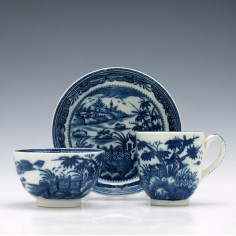 Caughley Fence and House Pattern Trio c1785
