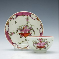 Lowestoft Curtis Pattern Teabowl and Saucer c1790