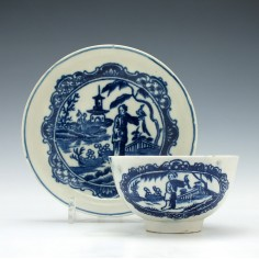 Liverpool Penningtons Falconer Pattern Tea Bowl & Saucer c1790