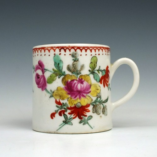 A Bow porcelain Floral pattern Coffee Can c1770