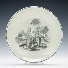 First Period Worcester Milkmaids Pattern Dish c1765