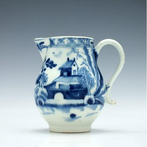A House and Landscape Pattern Lowestoft Porcelain Jug c1790