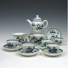 A Lowestoft Porcelain Garden Pattern Toy Tea Set c1764