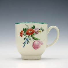 Pennington's Pink Rose and Flower Spray Pattern Coffee Cup c1785