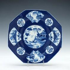 Bow Octagonal Fan-Panelled Landscape Pattern Plate 1760
