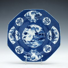 Bow Fan-Panelled Landscape Pattern Plate 1760