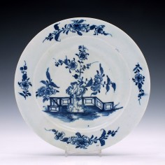 A Lowestoft Porcelain Candle Fence and Peony Pattern Plate c1770