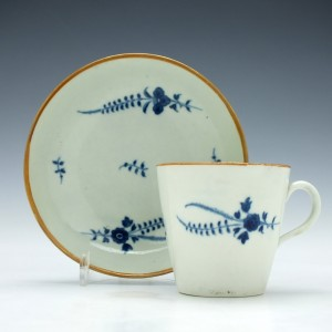 Worcester Chantilly Sprig Pattern Coffee Cup and Saucer c1780