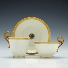 Swansea Porcelain Paris Fluted Trio c1815