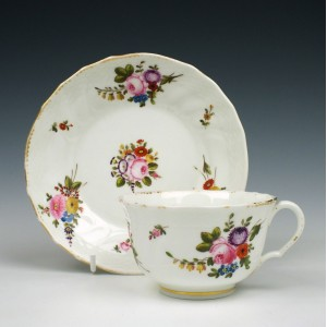 Swansea Porcelain Floral Teacup and Saucer