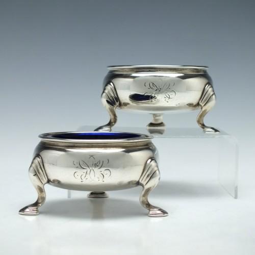 Pair Heavy Gauge Georgian Silver Salts London 1737