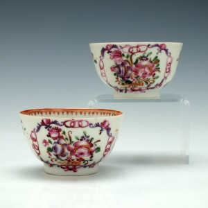 Two Hand Painted  Chinese Porcelain Tea Bowls c1770