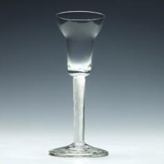 18th Century Pan Top Air Twist Wine Glass c1750