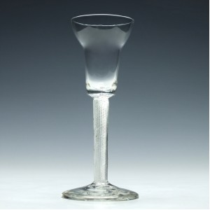 18th Century Pan Top Air Twist Wine Glass c1750