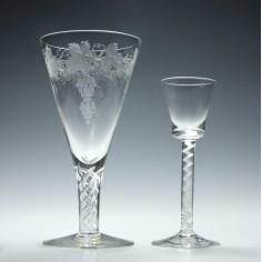 Engraved Stuart Crystal Air Twist Wine Goblet c1925