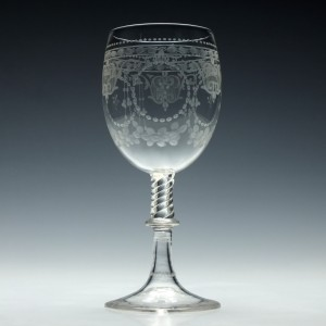 Engraved Victorian Wine Goblet c1870