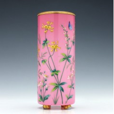 French Cased and Painted Glass Vase c1900