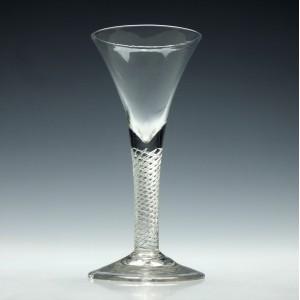 Large Georgian Multi Spiral Air Twist Wine Glass c1750