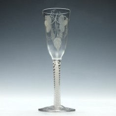 Engraved 18th Century Opaque Twist Ale Glass c1760