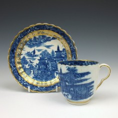 Coalport Temple pattern Coffee Cup and Saucer c1800
