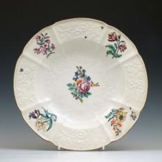 Moulded Chelsea Porcelain Dessert Plate c1765
