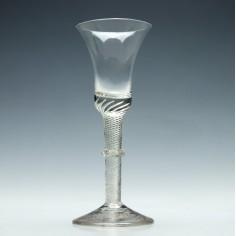 Georgian Air Twist Stem Wine Glass With Vermiform Collar c1750