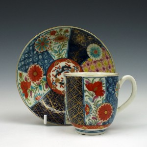 RESERVED T.M. - Worcester Mosaic Pattern Coffee Cup and Saucer c1775