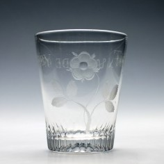 Derby Tribute Engraved Georgian Glass Tumbler c1820