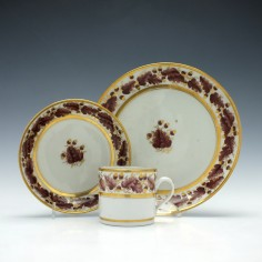 New Hall Pattern 302 Coffee Can and Saucer with Tea Plate c1800