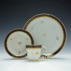 New Hall Porcelain Pattern 408 Coffee Cup and Saucer with Tea Plate c1790