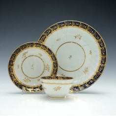 New Hall Porcelain Pattern 243 Tea Bowl and Saucer with Tea Plate c1790