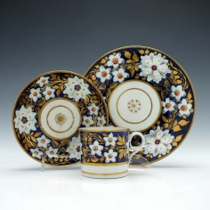 New Hall Coffee Can and Saucer with Tea Plate c1800