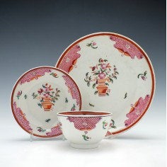 New Hall Porcelain Tea Bowl, Saucer with Tea Plate c1790