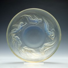 Signed Rene Lalique Opalescent Ondines Glass Bowl c1920