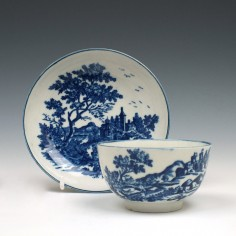 Worcester European Landscape Pattern Tea Bowl and Saucer c1775-85