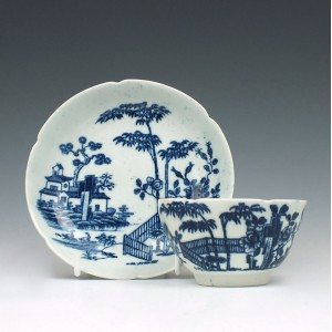 Early Worcester Plantation Print Tea Bowl and Saucer c1760