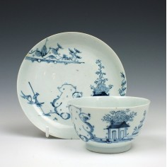 Richard Chaffers Man On Boat Pattern Teabowl and Saucer c1756-60
