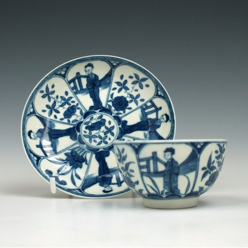 Worcester The Arcade Pattern Teabowl and Saucer c1765-70