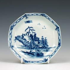 Rare Worcester Porcelain Romantic Rocks Pattern Saucer c1755
