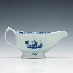 Lowestoft Little Fisherman Pattern Sauce boat c1764