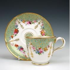 Coalport Porcelain Coffee Cup & Saucer c1855
