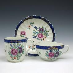 Worcester Fluted Floral Pattern Porcelain Trio c1785