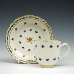 Caughley Cornflower Sprigs Pattern Coffee Cup and Saucer 1790