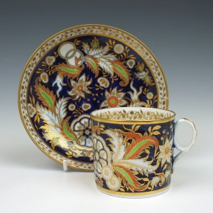 New Hall Tobacco Leaf Imari Pattern 856 Coffee Can and Saucer c1805