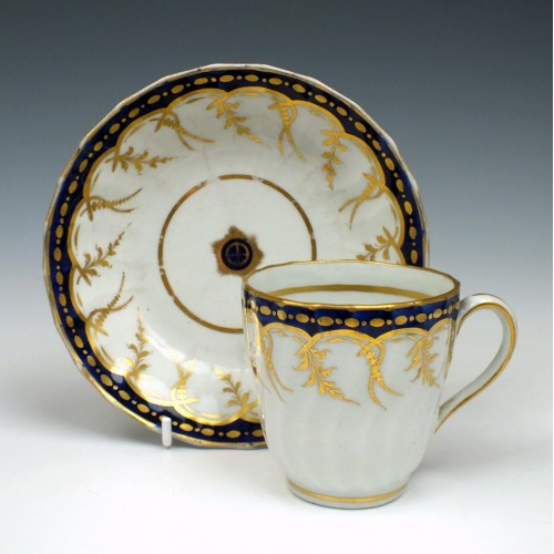 Spiral Fluted New Hall Porcelain Coffee Cup and Saucer  c1795
