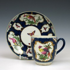 Worcester Scale Blue Fancy Bird and Bug Pattern Coffee Cup and Saucer c1770