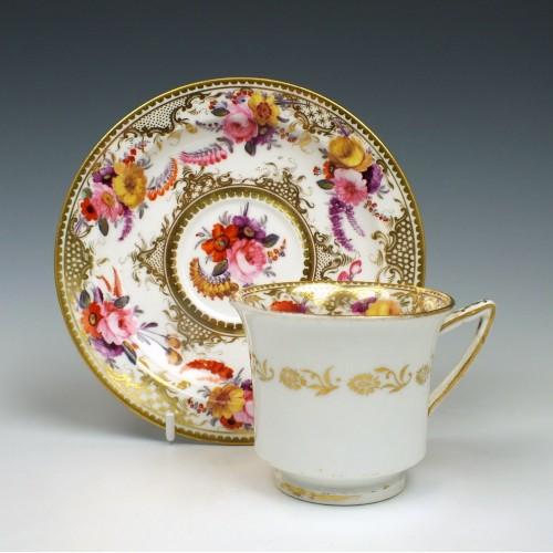 John Rose Coalport Porcelain Coffee Cup & Saucer c1820
